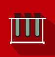 test tubes icon with long shadow flat design vector image vector image