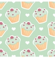 Tile pattern with cupcake and hearts on mint green vector image vector image