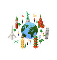travel around the world - colorful isometric vector image vector image