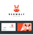 triangle polygonal logo with wolf sign vector image vector image