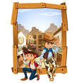 Two cowboys in the countryside vector image