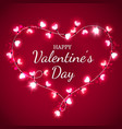 valentines day heart with red and pink light bulbs vector image vector image