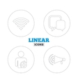 Wifi and chat bubbles Add user megaphone vector image vector image