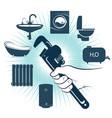 wrench in hand plumbing repair vector image vector image