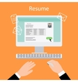 Writing a resume on computer vector image vector image