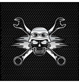 silver skull in helmet and wrenches with flames vector image