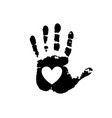 black silhouette of human hand print with heart vector image