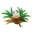 A cute cat on a stump with leaves vector image vector image
