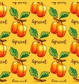apricot repeating pattern hand-drawn apricots vector image vector image