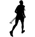athlete skyrunner with trekking pole vector image vector image
