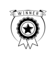 Badge winner award with ribbon isolated on white vector image vector image