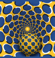 ball is moving in yellow blue rotating hole vector image vector image