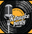 banner for karaoke party with mic and vinyl record vector image vector image