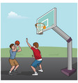 basketball game boys vector image vector image