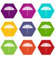 beach umbrella icon set color hexahedron vector image vector image