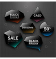 black friday sale design set of black labels vector image
