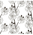 black seamless pattern with drawn orchid vector image vector image