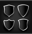 black shield with silver frame set vector image