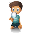 boy and a magnifying glass vector image vector image