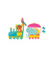 cartoon animals characters traveling by train vector image