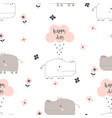 cartoon hippo pattern vector image vector image