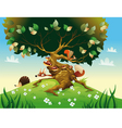 Cartoon landscape with animals vector image vector image