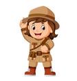 cartoon little girl scout vector image vector image