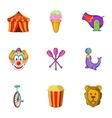 Chapiteau icons set cartoon style vector image