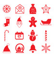 christmas icons set flat vector image