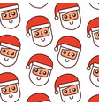 christmas santa claus with red hat seamless vector image vector image