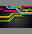 colorful abstract tech stripes on black background vector image vector image
