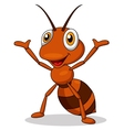 Cute ant cartoon waving vector image