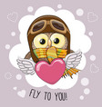 cute cartoon owl in a pilot hat vector image vector image