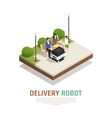 delivery robotic transport isometric composition vector image vector image
