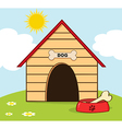 Dog House With Bowl On A Hill vector image vector image