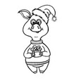 doodle cute pig with gift and santa hat vector image