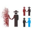 dust pixel halftone gentleman handshake icon vector image vector image