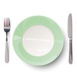 empty plate in green design with knife and fork vector image vector image