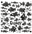 Fishes - doodles set vector image vector image