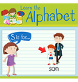 Flashcard letter S is for son vector image vector image