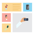 flat icon phone set of keep phone touchscreen vector image vector image