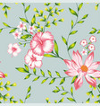 floral seamless composition turquoise background vector image vector image