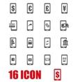 grey mobile banking icon set vector image vector image