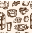 Hand drawn breakfast food seamless pattern