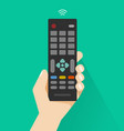 hand holding remote control from tv vector image vector image