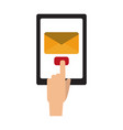 hand sending email from tablet vector image vector image