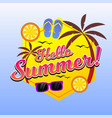 hello summer background with beach elements vector image