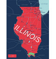 illinois state detailed editable map vector image vector image