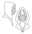line art with two people in hoodies and medical vector image vector image