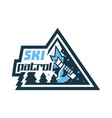 logo ski patrol the emblem etiquette icon in his vector image